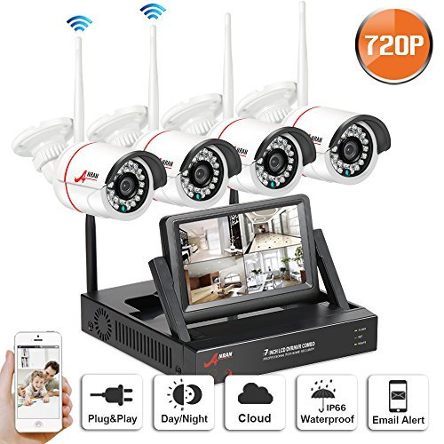 Wireless CCTV Security Systems, SWINWAY Wireless Security Camera Systems with 7 Inch Monitor Wifi NVR Kit 4 Channel 720P Indoor Outdoor Camera No Hard Drive,Easy Remoet Access,App,Plug and Play