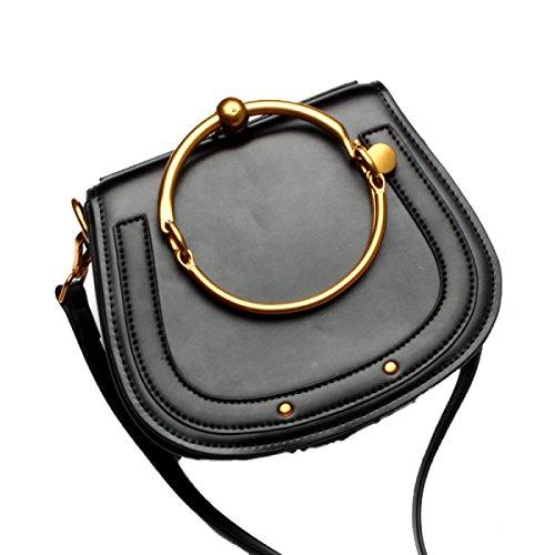 FZHLY Lady Semplice Vera Pelle Borsa Dell'anello Del Metallo Borsa Da Sella,Orange ClassicBlack