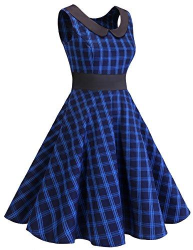 Dresstells 1950er Kleid Audrey Hepburn Vintage Rockabilly Swingkleid Faltenrock Navy Check