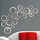 Walplus Mirror Wall Art Rings Combination Design Wall Stickers Removable Self-Adhesive Mural Decals Vinyl Home Decoration DIY Living Bedroom Office Décor Kids Room, Silver