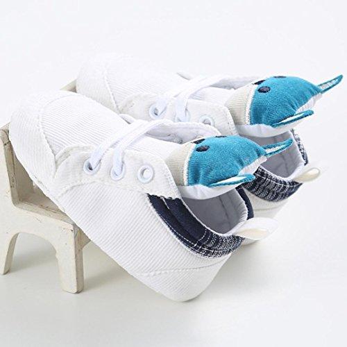 Hunpta Baby Mädchen Jungen Fuchs Hight Cut Schuhe Sneaker rutschfest weiche Sohle Kleinkind (Alter: 12 ~ 18 Monate, Blau) Weiß