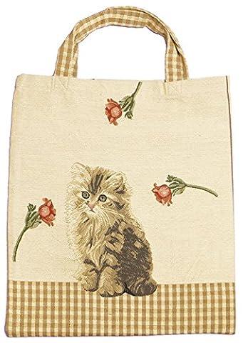 Einkaufstasche Beutel Stofftasche Shopper Bag Tasche Bistro Gobelin Royaltex Signare Eine Katze Fa.