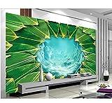 Mkkwp Benutzerdefinierte Größe Tapete 3D Wohnzimmer Tapete Wohnzimmer Wandbild Bambus Blätter Und Loch Malerei Sofa Tv Hintergrund Wandbild-300x210cm