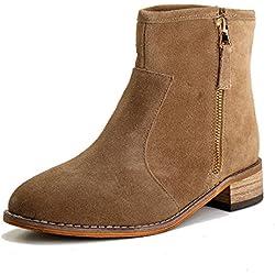 Alexis Leroy zapatos con cremallera - botines chelsea de cuero mujer Caqui 37 EU/4 UK