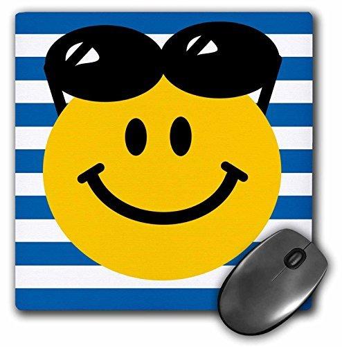 3dRose LLC mp_76661_1 Mauspad, sommerliches Smiley-Gesicht mit schwarzer Sonnenbrille, 20,3 x 20,3 x 0,63,5 cm