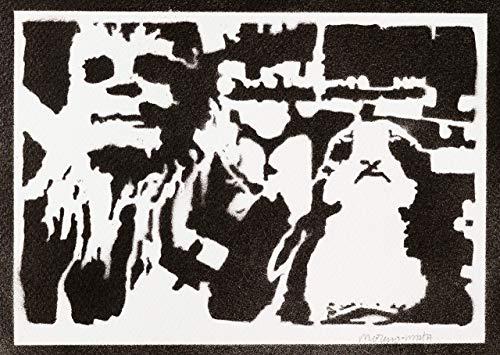 Chewbacca Und Porg STAR WARS Poster Plakat Handmade Graffiti Street Art - ()