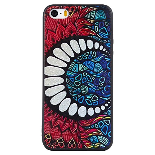 iphone 5S Silicone Cover, Custodia per iphone 5 Morbido, iphone SE Nero Cover, Ekakashop Clear 3d Sollievo Colorato Pattern Painting Animal Gel Silicone Gomma Soft TPU Ragazza Women Black Cover Shockp Mezzaluna Bianca