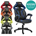 Gtforce Roadster 1 Sport Racing Car Office Chair, Leather, Adjustable Lumbar Support Gaming Desk Bucket - low-cost UK light store.