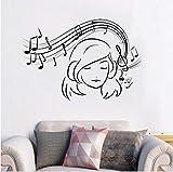 Zlxzlx Musical Girl Sticker Vinyle Mélomane Autocollant Mural Musique Ados Filles Room Decor Amovible Notes De Musique Mur Art Mural 57 * 39 Cm