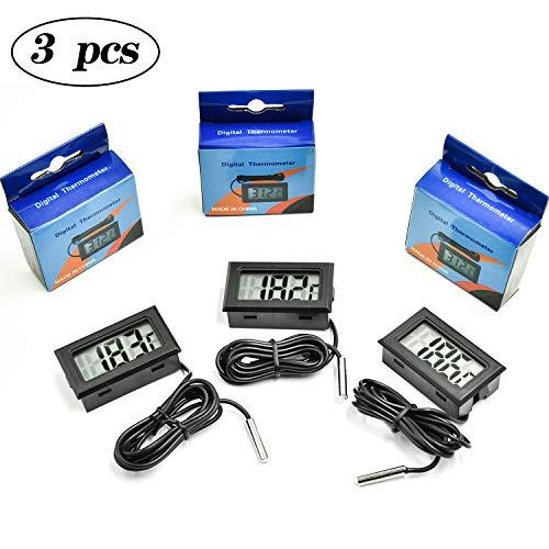 cococity 3 Stück Mini Digital Aquarium Thermometer mit Sonde Digitalthermometer mit LCD-Display für Terrarium, Raumklimamessungen 1m Anschlussleitung