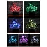 DHYWGS Fernbedienung Motorrad Led Nachtlicht Dekoration 3D Illusion 7 Farbwechsel Kinder Nachtlicht Geschenke Tischlampe Schlafzimmer Motorrad Jungen Geschenk Weihnachtsbeleuchtung