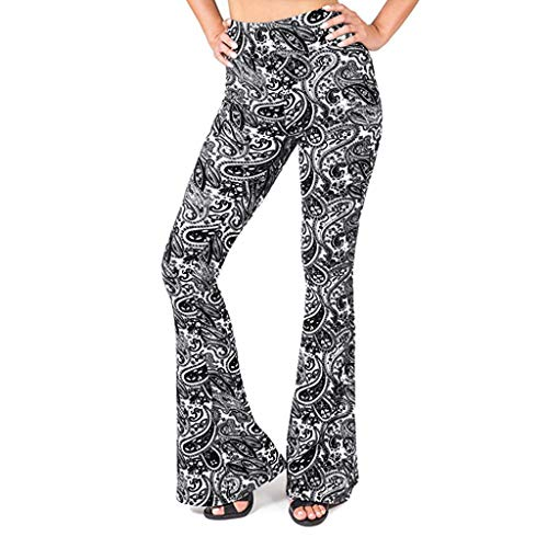 WOZOW Yoga Hosen Damen Bootcut Anime Comic Dragon Ethnisch Totem Muster Print Bedrucktes Lang Long Bell Bottom High Waist Dünn Skinny Stretch Flare Trousers Stoffhose Freizeithose (L,Schwarz) Cord-bell-bottom-jeans