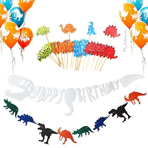 LAOZHOU Dinosaur Birthday Party Decoration Supplies, Happy Birthday Banner, Dinosaurio Non-Woven Fabric Banner, Globos de Dinosaurio, Primeros de Pastel de Dinosaurio para niños Adultos (36 Paquetes)