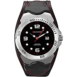 Mountaineer Mens Sport Watch Black Leather and Nylon Strap Watch Red Stitching Reloj Para Hombre MN1451