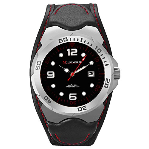 Mountaineer-Mens-Sport-Watch-Black-Leather-and-Nylon-Strap-Watch-Red-Stitching-Reloj-Para-Hombre-MN1451