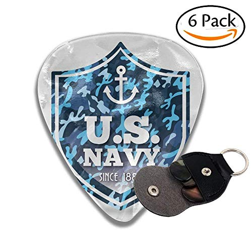 Anchor Military Camouflage Us Navy Since 1882 Uniform Army Force Ship Marine Badge Stylish Celluloid Guitar Picks Plectrums For Guitar Bass .6 Pack 46mm