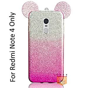 huge selection of 550a6 5ec50 KC Cute Ears Gradient Glitter 2 in 1 Transparent Soft Back Cover for Xiaomi  Redmi Note 4 - Pink Colour