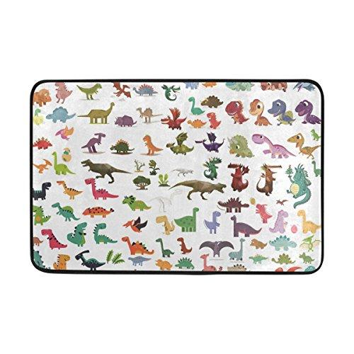 (Ahomy Badteppich Dinosaurier Cute Colorful Anti Rutsch Matten antibakteriell Dusche Soft saugfähig Teppich Polyester Bereich Teppiche für Badezimmer Schlafzimmer Wohnzimmer 60x 40cm (2x 1.3ft))