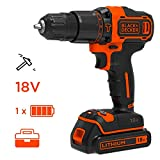 BLACK+DECKER BDCHD18K-QW Perceuse à percussion sans fil - 18 V - 1,5 Ah  - 2 vitesses - 1 batterie - Chargeur inclus - Livrée en coffret