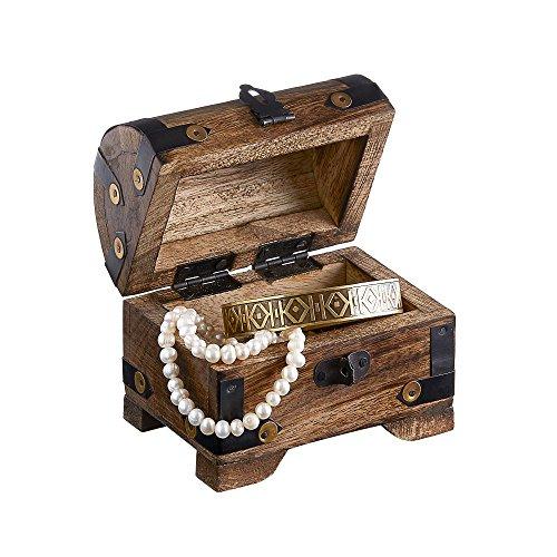 Holztruhe - Bauernkasse - Schatztruhe - Schmuckkästchen - Spardose - Aufbewahrungsbox aus Holz - KLEIN - 10 cm x 7 cm x 8,5 cm (DUNKEL - KLEIN)