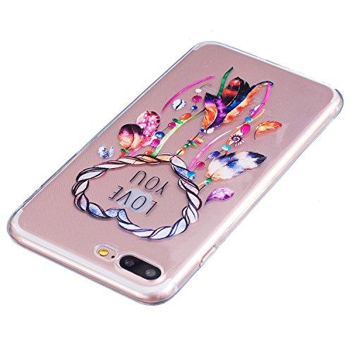 iPhone 7 Plus Coque, Aeeque Fleurs de Dentelle Blanc Dessin Transparent Crystal Silicone Doux TPU Protection Contre les Chutes Case Cover Housse Etui pour iPhone 7 Plus 5.5 pouce Motif #9