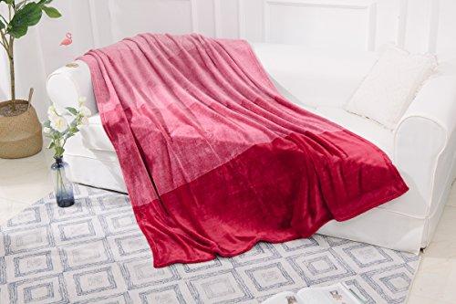GC Super weiches Luxus-Garn gefärbt mit Herz mit warm Fleece Decke Sofa Bett für große, Settee Rot/Rosa (Herz Rotes Garn Rosa)
