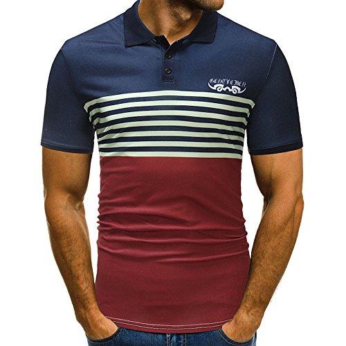 Herren Poloshirt Sommer T Shirt Top Streifen Basic Kurzarm Polohemd Slim Fit Shirt Zhen+ Männer Baumwolle Sport Casual Poloshirt Housemark Polo Tee Bluse Sweatshirt Oberteile - Kauf 2 Stück 10% sparen -