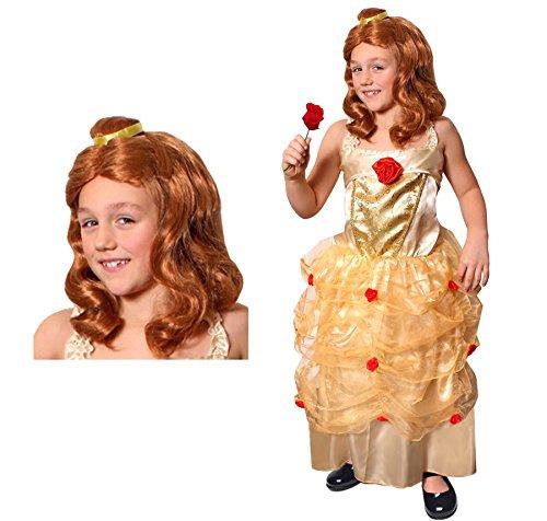 Oz Kostüm Der Von Zauberer Theater - ILOVEFANCYDRESS Kinder Bell DIE SCHÖNE KOSTÜM VERKLEIDUNG+ PERÜCKE =MUSIKAL Theater AUFFÜHRUNGEN MÄRCHEN Fasching Karneval Schule=GOLDENES Kleid MIT ROTEN Rosen SCHULTERFREI MIT Gummizug=XLarge