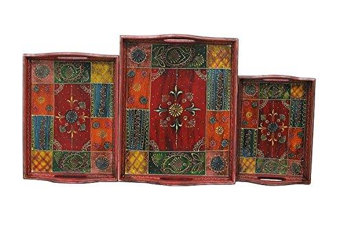 APKAMART Handicraft Serving Tray - Set of 3 - Hand Crafted Decorative...