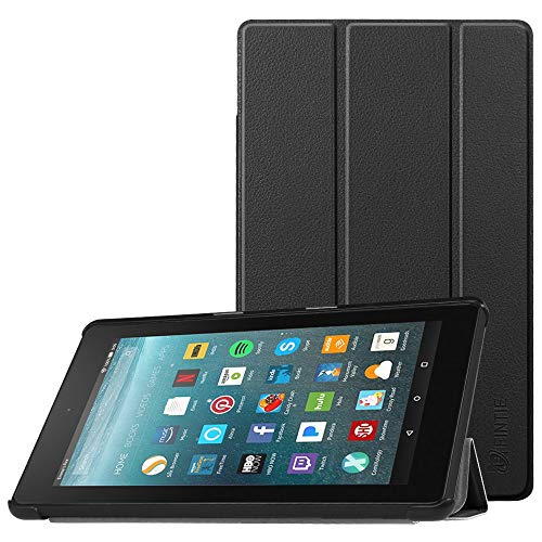 Fintie Hülle für Amazon Fire 7 Tablet (7-Zoll, 7. Generation - 2017) - Slim Cover Lightweight Schutzhülle Tasche mit Standfunktion & Auto Schlaf / Wach Funktion, Schwarz