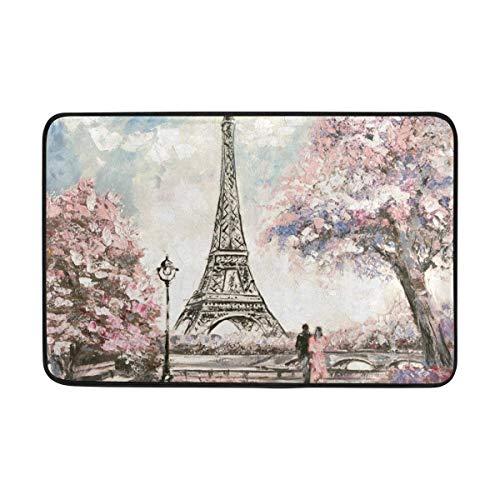 Uosliks Romantic Vintage Paris Eiffel Tower Floral Roses Fußabtreters Floor Mats Shoe Scraper for Home Indoor Entrance Way Front Door 23.6 by 15.7 Inches 40x60cm
