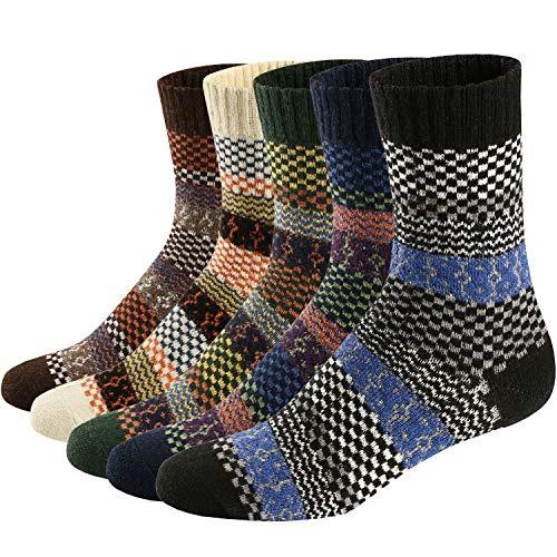 Ueither 5 Paar Unisex Wollsocken - Baumwollsocken - Stricksocken | für Männer & Frauen | Vintage Stil | Warme Crew Socken für Herbst & Winter (Schuhgröße:38-44, Farbe 2)