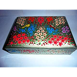 Artcollectibles India 5'' X 7'' X 1.75'' Rare Decorative Christmas Jewelry Gift Box Wooden With Intricate Handpainting In Paper Mache