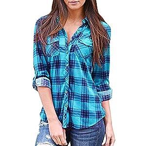 Bluse Bluelucon Kariertes Damen Hemd Oberteile V-Ausschnitt Lose Casual Langarm T-Shirt Top Tunika Elegant Langarmshirt