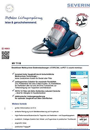 confronta il prezzo Severin My 7118 Aspirapolvere Multiciclonico, senza Sacco, Blu Scuro miglior prezzo