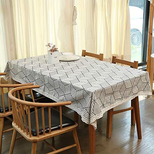 Baumwolle Und Leinen Wasserdichte Tischdecke Nordic Gitter Ins Wind Tee Tisch Picknick Tischset Kleine Frische Schreibtischdecke Weißer Diamant (Wasserdicht) 160X160 Cm (Baby-dusche-papier-tischsets)