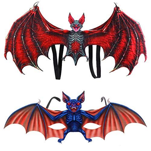SoundJA Fledermaus Kostüm Kinder Tierflügel Brillen Set Zubehör Geeignet für Halloween Maskerade Kostümpartys Bierfest Karneval Weihnachten Ostern oder Andere Partys (Rot)