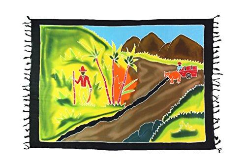 Ciffre Original Yoga Sarong Pareo Wickelrock Strandtuch Rund ca 170cm x 1110cm Handtuch Schal Kleid Wickeltuch Wickelkleid Bali Landschaft - Handbemalt