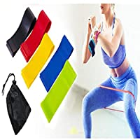 TOPAUP Resistance Loop Bands, Resistance Exercise Bands 5pcs Workout Elastic Loop Band with Carry Bag, 5 Different Resistance Levels Resistance Bands for Home Gym Yoga Training Fitness