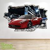 1Stop Graphics Shop Ferrari Adesivo da Parete 3D Look - Ragazzi cameretta Bambini Supercar da Parete, Decalcomania Z544 - Large: 70 cm x 111 cm