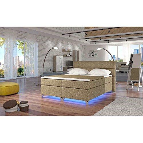 JUSTyou Amadeo LED Boxspringbett Continentalbett Doppelbett Strukturstoff (BxLxT): 185x205x126 cm Beige