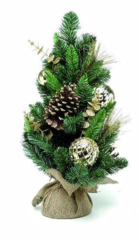 Festive 60 cm, Table de luxe Motif arbre de Noël avec pointes couleur or et or Papillon filigrane à l'Eucalyptus-tiges