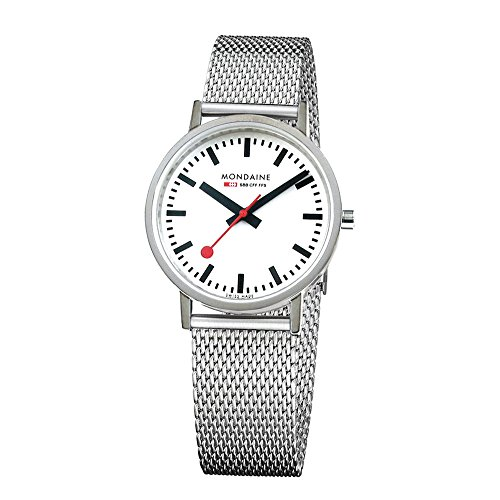 Mondaine Men's Classic 36 mm Watch with Stainless Steel polished Case white Dial and milanaise mesh bracelet Strap A660.30314.11SBV
