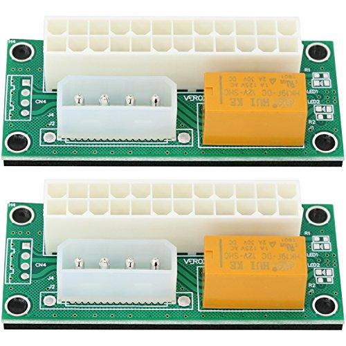 com-four® 2 Dual Power Netzteil Adapter ATX 24 PIN zu 4 PIN für die Synchronisierung von Netzteilen (02 Stück - Adapter ATX zu 4Pin) - 12v Supply Power Extension