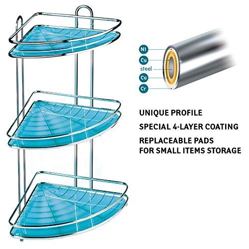 Tatkraft kaiser mensola ad angolo da bagno a 3 livelli porta oggetti in speciale acciaio cromato antiruggine 35x25.8x58.5cm