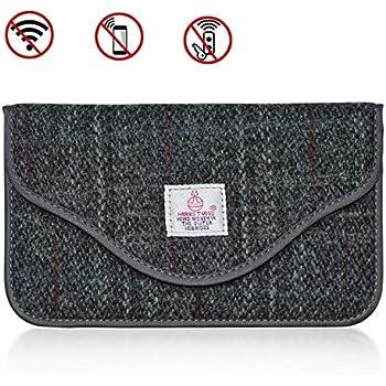 MONOJOY Keyless Car Key Signal Blocker Pouch Faraday Pouch for Car Keys Harris Tweed Surface RFID Signal Blocking Faraday Bag Cage brown