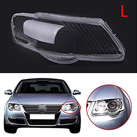 WANOOS Left Side ABS Headlight Lens Shell Headlamp Cover for VW Passat B6 2005-2009
