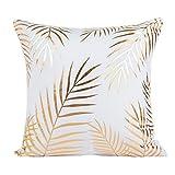 Yogogo Housse d'oreiller, Housse d'oreiller en papier doré, 45cmX45cm Housse de coussin de lingerie Décoration de maison (M)