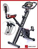 Sportstech F-Bike X100 Fitnessfahrrad mit patentiertem Zugbandsystem 4 KG Schwungmasse Rückenlehne X-Bike Ergometer mit Tablethalterung 8 Stufen Zwei-Wege Magnetbremssystem Handpulssensoren faltbar (mit Rückenlehne)