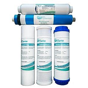 5 Etapa de ósmosis inversa de agua Filtro de repuesto Filtro Set – incluye membrana